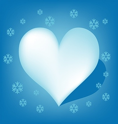 Blue Heart with Koch snowflake vector image
