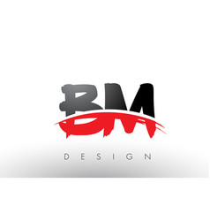 Bm b m brush logo letters with red and black vector