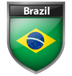brazil flag on badge design vector image