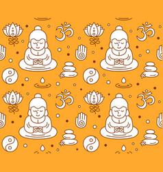 buddhist religious sacred symbols seamless vector image