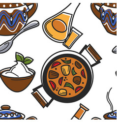 Bulgarian food and drink seamless pattern guvech vector