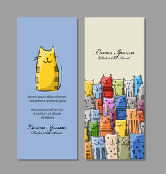 business cards design funny cats family vector image