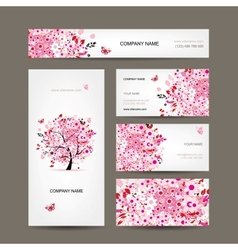 Business cards design with floral tree pink vector