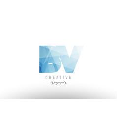 Bv b v blue polygonal alphabet letter logo icon vector