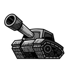 cartoon army tank machine with big cannon ready vector image