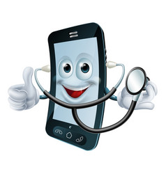 Cartoon phone character holding a stethoscope vector