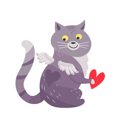 Cat with angel wings holding red heart isolated vector