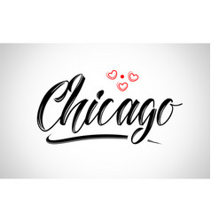 Chicago city design typography with red heart vector