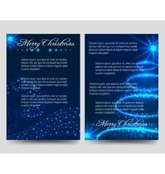 Christmas blue flyers brochure template vector image
