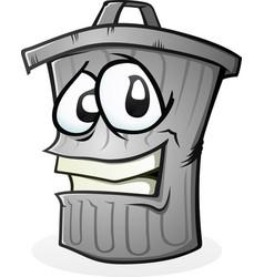 Clean trash can cartoon character vector