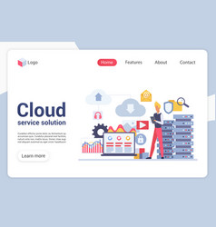 Cloud service solution landing page vector