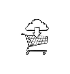 cloud with arrow pointing at shopping cart hand vector image