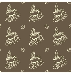 Coffee Cups and Beans Seamless Pattern vector