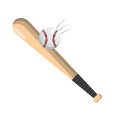 Color baseball with bat and ball icon vector