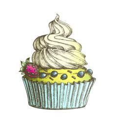 Color creamy berry cake sweet dessert vintage vector