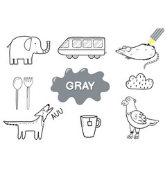 color elements in gray coloring page for kids vector image