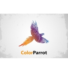 Color parrot Parrot logo design grunge poster vector