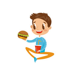 cute boy sitting on the floor with hamburger and vector image