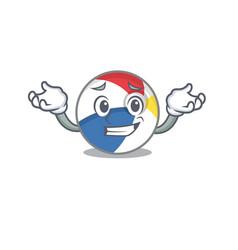 Cute grinning beach ball mascot cartoon style vector