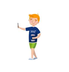 cute redhead boy making selfie photo cartoon vector image