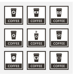 disposable coffee cup signs and icons set vector image