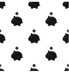 Donation piggybank icon in black style isolated on vector