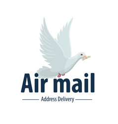 Dove bird air post mail delivery icon vector