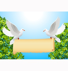 Doves with banner vector