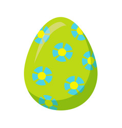 easter egg with blue flowers isolated vector image