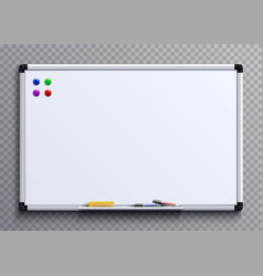 Empty whiteboard with marker pens and magnets vector