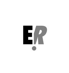 Er e r black white grey alphabet letter logo icon vector