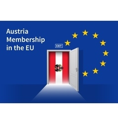 European Union flag wall with Austria flag door vector