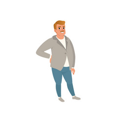 Fat adult man with mustache posing isolated on vector