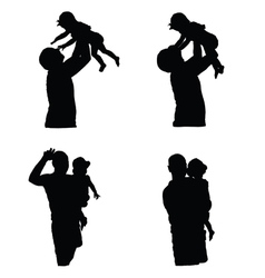 Father with girl silhouette vector
