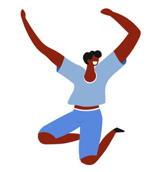 Feeling and emotion jumping happy man cheerful vector