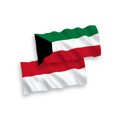 Flags indonesia and kuwait on a white vector