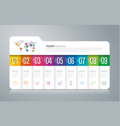 folder infographics design with 9 options vector image
