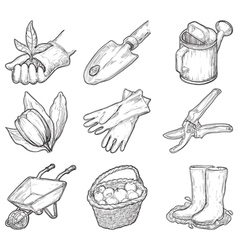 Garden tools and things vector