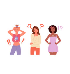 girls think about solving problems in crisis vector image