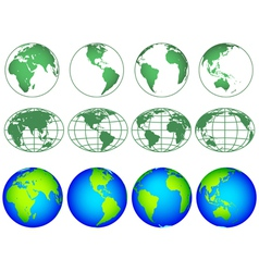 Globes icon collection vector