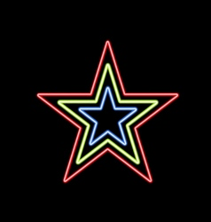Glowing star of neon on a black background vector
