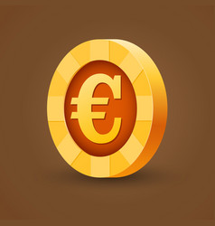 gold coin of euro isolated on dark background vector image