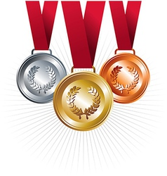 Gold silver and bronze medals with ribbon vector image