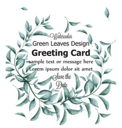 greeting card with green branches watercolor vector image