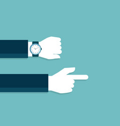 hand and watch with late time pointing to go work vector image