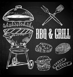Hand drawn bbq and grill design elements grilled vector
