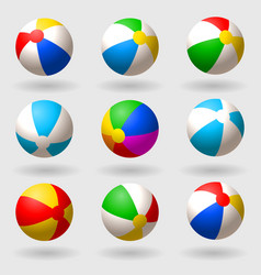 Inflatable beach ball set of multi-colored vector