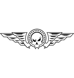 Insignia with skull and wings vector