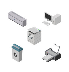 Isometric cabinet set of garbage container wall vector