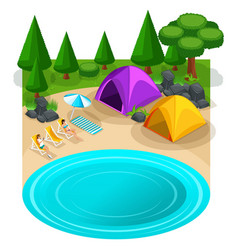 isometric expedition travel hiking webpage with vector image